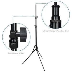 2 Packs of Light Stand Tripod Die-cast Metalic Material, Max 92 inch Height, Rubber Feet, 1/4 inch Thread Tip Screw, Easy Carry Case Bag, Solid Locking, Photo Studio, AGG2017
