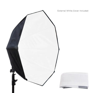 144 LED Photo Light 30 Watt & 24 inch Diameter Octangle Softbox Outside Black Inside Silver, Lighting with Handle Bar & Grip, Tripod Mountable, Continuous Light Kit, Photo Studio, AGG2018