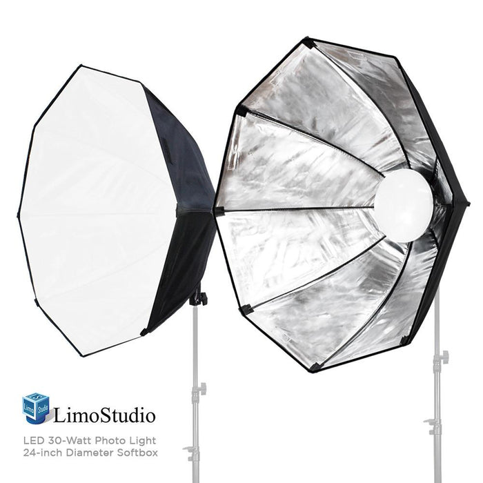 2 Packs of LED Photo Light 30 Watt & 24 inch Diameter Octangle Softbox, Lighting with Handle Bar & Grip, Tripod Mountable, Carry Bag for Softbox, Continuous Light Kit, Photo Studio, AGG2019