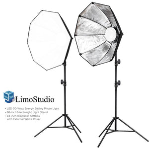 Photo Studio Kit 2 Sets of LED Photo Light & 24 inch Diameter Octangle Softbox & 86 inch Max Height Light Stand Tripod, Continuous Light Kit, Photography Studio, AGG2021