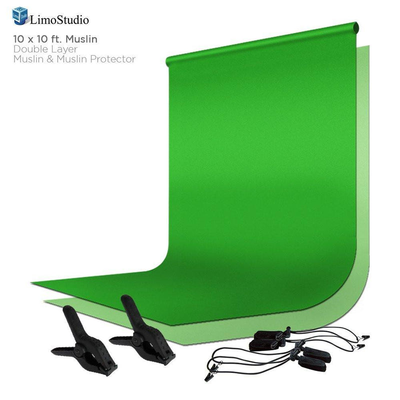 10 x 10 ft Green Chromakey Muslin backdrop Backgrounds for Photography Studio Portrait, AGG202V2