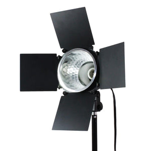 150 Watt JDD Frost Halogen Bulb Barn Door Lamp with Reflector and Extension Cord, Light Stand Tripod, On/Off Switch, E26/E27 Standard Base, Continuous Lighting Photo Video Studio, AGG2031_V2