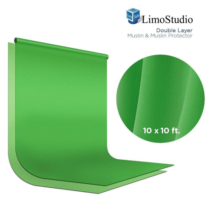 Green Chromakey Photo Video Studio Fabric Backdrop 10 x 10 ft., Background Screen, Pure Green Muslin, Double Layer with Fabric Protector, Photography Studio, AGG2035