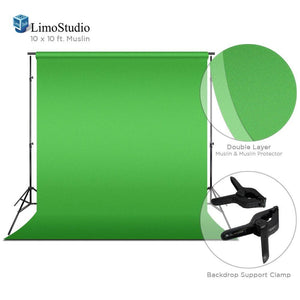 Green Chromakey Photo Video Studio Fabric Backdrop 10 x 10 ft. with Backdrop Support Structure Stand System, Photo Spring Clamp, Background Screen, Pure Green Muslin, Photo Studio, AGG2037