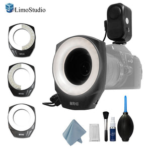 LimoStudio 48 Macro LED Ring Photo Video Light Bundle Kit