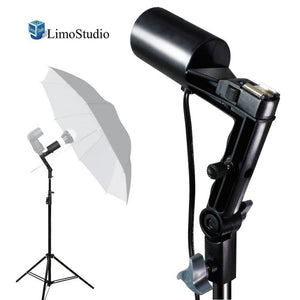 Single Head Photo Bulb Socket with Flash Bracket E26 / E27 Standard Base Size, Flash Lock Button, Umbrella Reflector Insert, Tripod Mount, Angle Adjust, Photo Studio, AGG2047