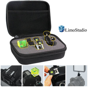 LimoStudio Camera Accessory Kit Hardshell Carry Bag, On Camera Bubble Spirit Level, Hot Shoe Cover Protector Cap, Mini Ball Head, Water Proof Carry Bag with Sponge Cushion, Flash Bracket, SRE1234