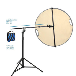 Swivel Head Reflector Support Holder Cross Arm, Boom Arm Stand, Reflector Hold Arm Bar, Max Reflector Holding Length 48 Inch with Light Stand Tripod, Photography Studio, AGG2074V2