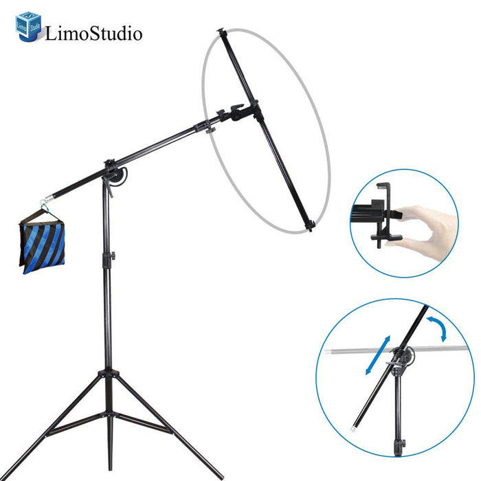 Swivel Head Reflector Holder Support Structure System, Boom Stand, Reflector Holding Arm Bar, 48 Inch Max Hold Length, Studio Lighting Kit, Photography Video Studio, AGG2076