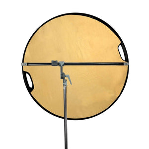 Swivel Head Reflector Support Holder Arm, Boom Stand Arm Bar with 43 Inch Diameter 5 Color in 1 Round Collapsible Reflector Disc Panel, Hand Held, Boom Stand Kit, Photo Studio, AGG2082
