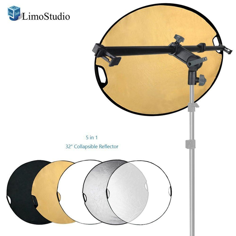 Swivel Head Reflector Support Holder Arm, Boom Stand Arm Bar with 32 Inch Diameter 5 Color in 1 Round Collapsible Reflector Disc Panel, Hand Held, Boom Stand Kit, Photo Studio, AGG2083