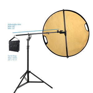 Swivel Reflector Support Holder Arm, 2 Way Rotatable Boom Stand Arm Bar with 32 Inch Diameter 5 Color in 1 Round Collapsible Reflector Disc Panel Boom Stand Kit, Sand Weight Bag, AGG2085