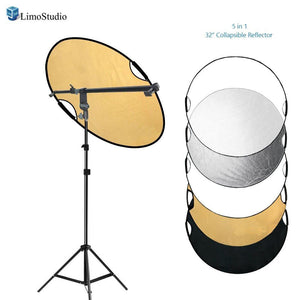 Swivel Head Reflector Support Holder Arm, Boom Stand Arm Bar, Light Stand Tripod with 32 Inch Diameter 5 Color in 1 Round Collapsible Reflector Disc Panel, Hand Held, Photo Studio, AGG2086