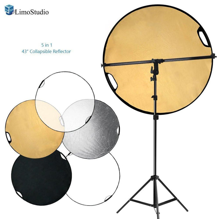 Swivel Head Reflector Support Holder Arm, Boom Stand Arm Bar, Light Stand Tripod with 43 Inch Diameter 5 Color in 1 Round Collapsible Reflector Disc Panel, Hand Held, AGG2087V2