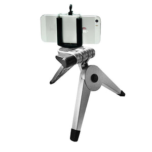 Cell Phone Tripod Stand Solid Metal Leg and body with Smart Phone Holder Spring Clip for Iphone, Samsung Galaxy, Cellphone, Light Stand Tripod with 1/4 inch Screw, Photo Studio, AGG2094