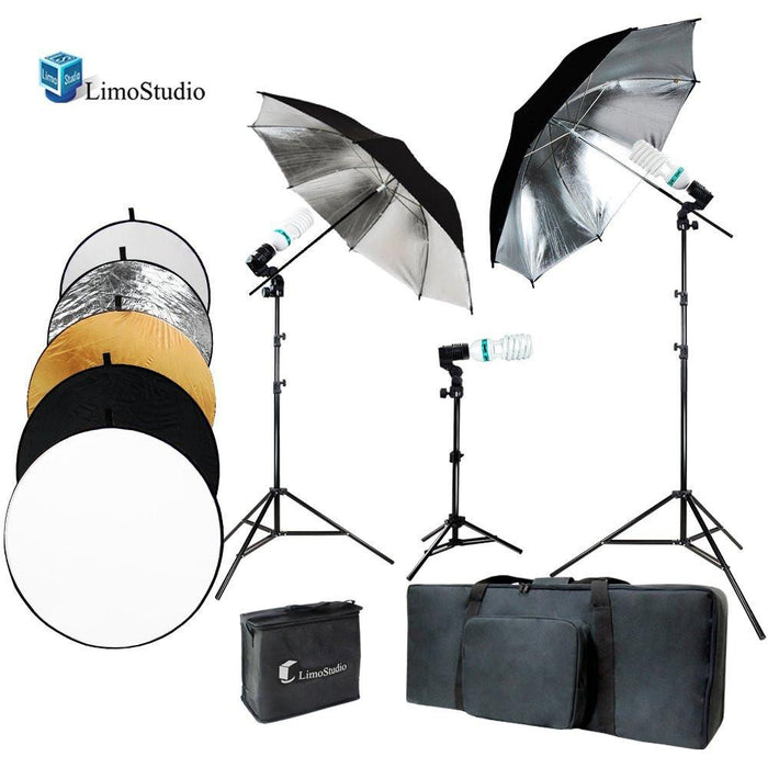 Photo Video Studio Black Umbrella Reflector Lighting Kit, Photo Bulb Socket, Energy Saving Light Bulb, 43 Inch Diameter 5 Color Round Reflector Disc, Photography Studio, AGG2098V2
