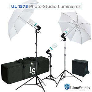 600W 5500K Photo Video Studio Continuous Lighting Kit UL1573 ETL Listed, Black & White Umbrella Reflector, Light Stand Tripod, Heavy Duty Carry Bag, Photography Studio, AGG2101