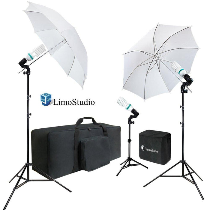 White Umbrella Reflector Photography Video Studio Continuous Lighting Kit, Photo Bulb & Socket with Umbrella Insert Hole, Light Stand Tripod, Carry Bag, Photo Studio, AGG2102