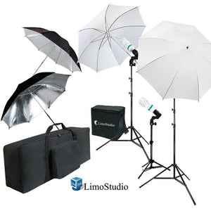 White & Black Umbrella Reflector Photography Video Studio Continuous Lighting Kit, Photo Bulb & Socket with Umbrella Insert Hole, Light Stand Tripod, Carry Bag, Photo Studio, AGG2103