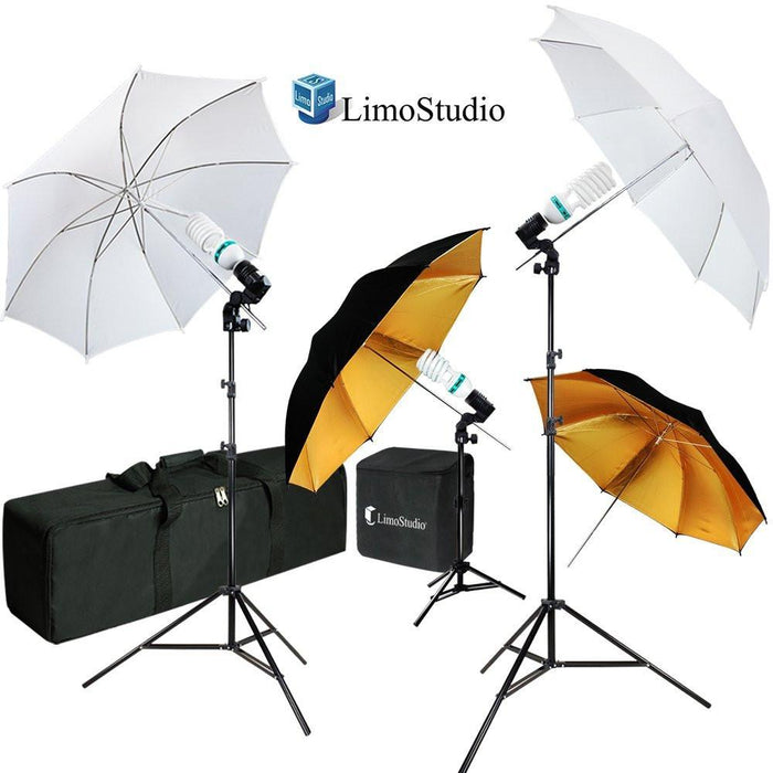 Umbrella Reflector Video Studio Continuous Lighting Kit, White & Gold Umbrella, Photo Bulb & Socket with Umbrella Insert Hole, Light Stand Tripod, Carry Bag, Photograph Studio, AGG2105