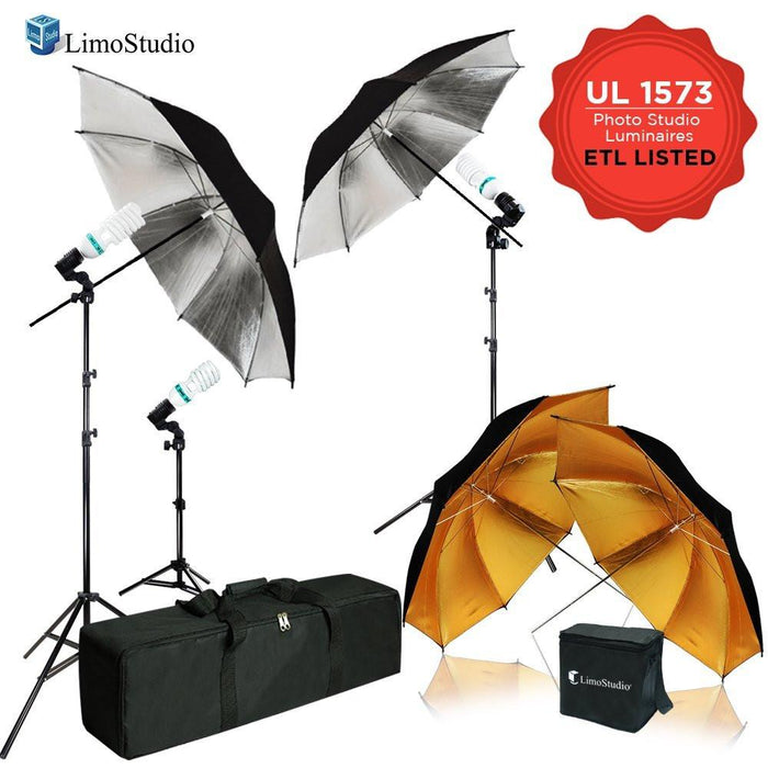 600W 5500K Photo Video Studio Continuous Lighting Kit, UL 1573 ETL Listed Photo Bulb Socket with Umbrella Reflector Insertion, Silver & Gold Umbrella, Light Stand Tripod, AGG2108