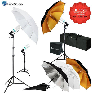 600W 5500K Photo Video Studio Continuous Lighting Kit, UL 1573 ETL Listed Photo Bulb Socket with Umbrella Reflector Insertion, White & Silver & Gold Umbrella, Light Stand Tripod, AGG2109