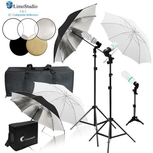 Photo Umbrella Reflector Lighting Studio Kit, White Silver, Fluorescent Photo Bulb, 5 Color Round Reflector Disc Panel, Light Stand Tripod, Heavy Duty Carry Bag, Photo Studio, AGG2122