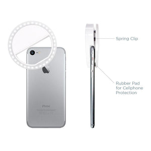 LED Portable Mini Selfie Ring Light for Smartphone, Camera Light for iPhone, iPad, Samsung Galaxy, Brightness Level Control, Rechargeable USB Cable, Photo Studio, AGG2141
