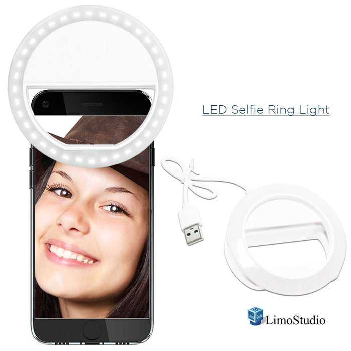 LED Portable Mini Selfie Ring Light for Smartphone, Camera Light for iPhone, iPad, Samsung Galaxy, Brightness Level Control, Rechargeable USB Cable, Black Cleaning Cloth Rug Wipe, AGG2142