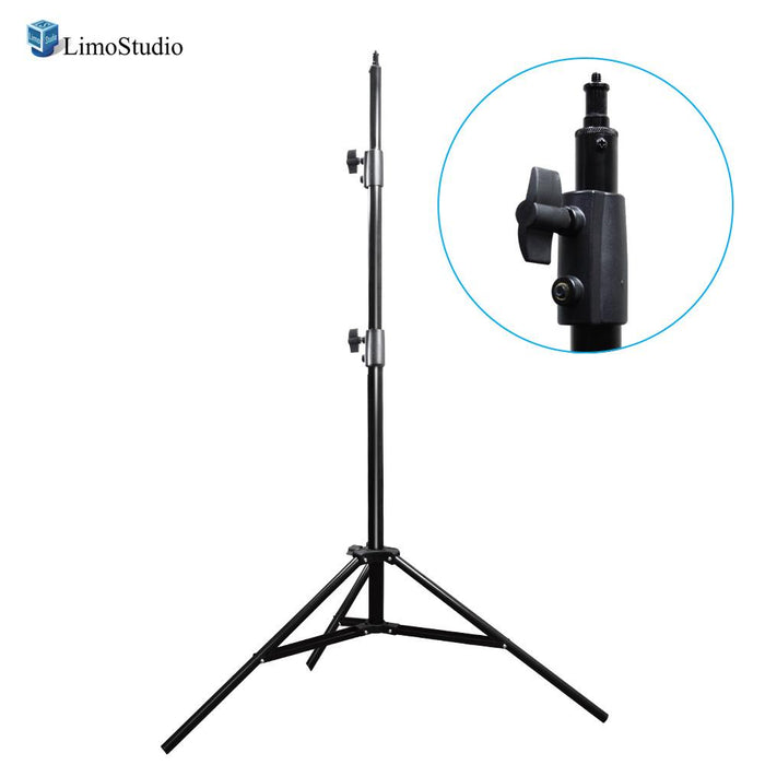 Aluminum Adjustable Light Stand Tripod with 86 Inch Max Tall Height, 1/4 Inch Screw Thread Tip, Solid 3 Stage Legs, Safety Locking System, Photo / Video Studio, AGG2147