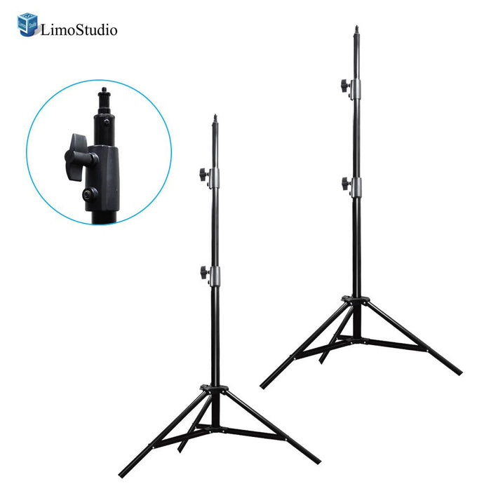 2 Packs of Aluminum Adjustable Light Stand Tripod with 86 Inch Max Tall Height, 1/4 Inch Screw Thread Tip, Solid 3 Stage Legs, Safety Locking System, Photo / Video Studio, AGG2148