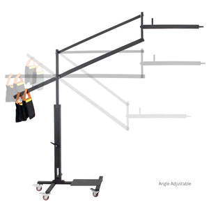 DSLR Camera Camcorder Jib Crane for Photo Video Studio, 125 Inch / 10 ft. Max Height 5 Wheel Dolly Track Base for Camera Mount with Weight Sand Bag, Photography Studio, AGG2181