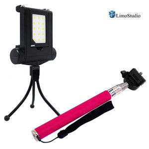 Mini LED Fill In Light for Cellphone, Smartphone Photo/Video Lighting with Pink Selfie Stick Extendable Monopod, USB Cable Charger, 4 Level Brightness Control, Photo Studio, AGG2184