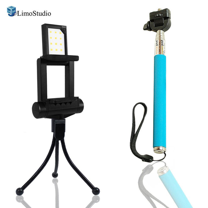 Mini LED Fill In Light for Cellphone, Smartphone Photo/Video Lighting with Blue Selfie Stick Extendable Monopod, USB Cable Charger, 4 Level Brightness Control, Photo Studio, AGG2185