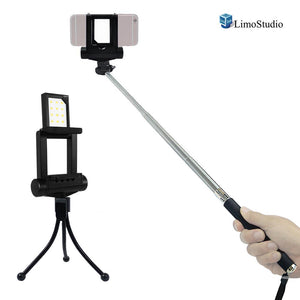 Mini LED Fill In Light for Cellphone, Smartphone Photo/Video Lighting with Selfie Stick Extendable Monopod, USB Cable Charger, 4 Level Brightness Control, Photo Studio, AGG2186