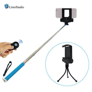 Mini LED Fill In Light for Cellphone, Smartphone Photo/Video Lighting with Blue Selfie Stick Extendable Monopod, Bluetooth Remote Shutter Trigger, Photo Studio, AGG2188