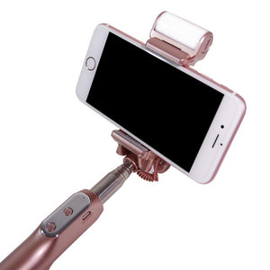 Bluetooth Selfie Stick with Fill Light, Mirror, Extendable Handle Grip Bar, Remote Cellphone Camera Shutter Trigger for iPhone, Galaxy, Camera Monopod with Gray Cleaning Cloth, AGG2192