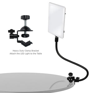 LED Light Panel with Gooseneck Extionsion Adapter & Mini Table Top Light Stand & Mounting Clamp, Photo Video Lighting Kit, Photo Studio, AGG2204