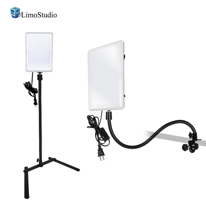 [2 Pack] LED Light Panel with Gooseneck Extionsion Adapter & Mini Table Top Light Stand & Mounting Clamp, Photo Video Lighting Kit, Photo Studio, AGG2205