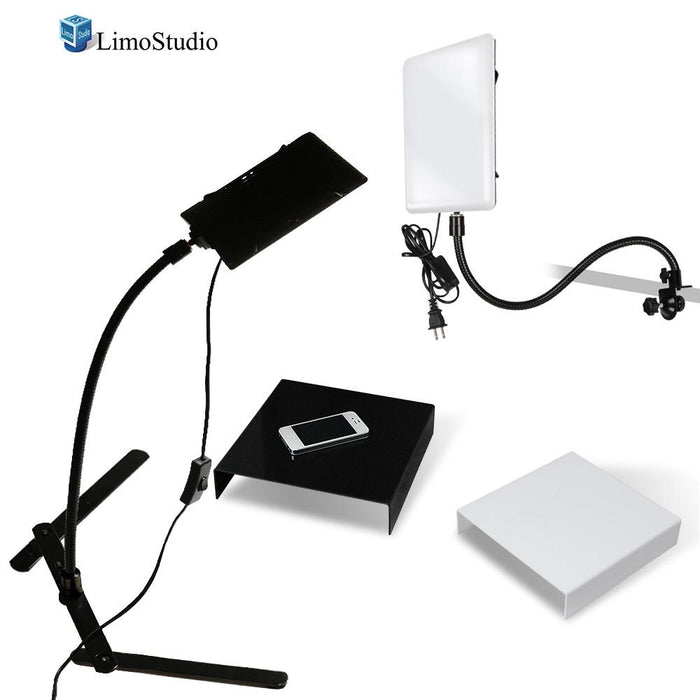 2 Packs of LED Light Panel with Gooseneck Extionsion Adapter & Mini Table Top Light Stand, Black and White Photo Background Table, Photo Video Lighting Kit, Photo Studio, AGG2209