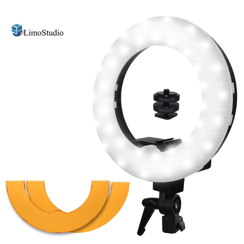 14 Inch LED Ring Light, 5600K Dimmable, Camera Mount Screw Nut Adapter, Suitable for Facial Beauty Shot, with Orange Gel Filter Photo/Video Studio, AGG2213V2