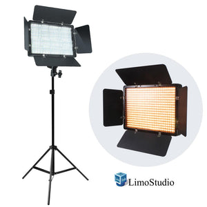 LED Barn Door Light Panel with Light Stand Tripod, Dimmable Brightness Control, Color Temperature Control by Color Filter Gel, Continuous Lighting Kit, AC Power Cord, Photo Studio, AGG2218