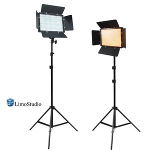 [2 Pack] LED Barn Door Light Panel with Light Stand Tripod, Dimmable, Color Temperature Control by Color Filter Gel, Continuous Lighting Kit, AC Power Cord, Photo Studio, AGG2219
