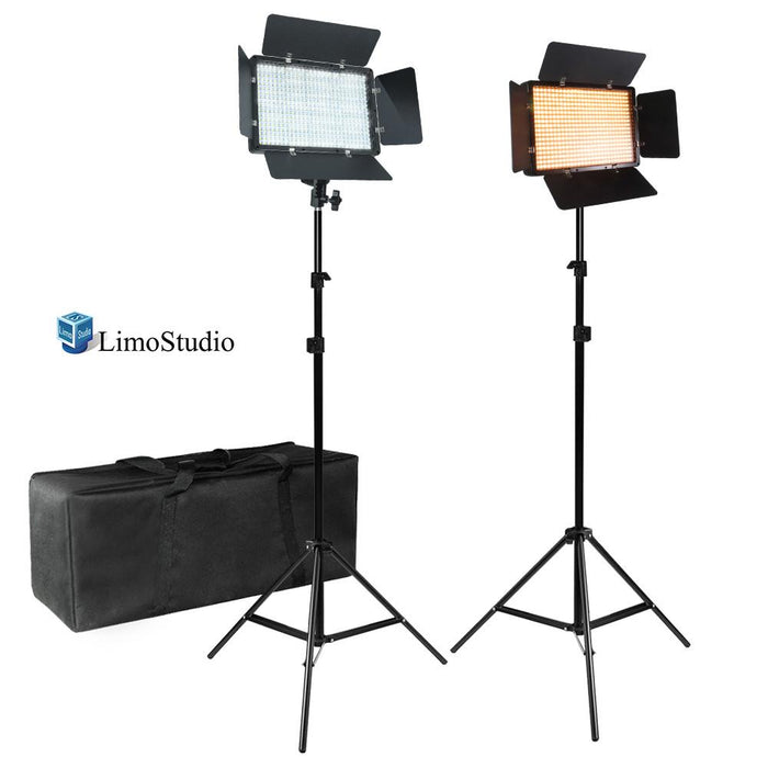 [2 Pack] LED Barn Door Light Panel with Light Stand Tripod & Heavy Duty Carry Case Bag, Dimmable, Color Filter Gel, Continuous Lighting Kit, AC Power Cord, Photo Studio, AGG2220