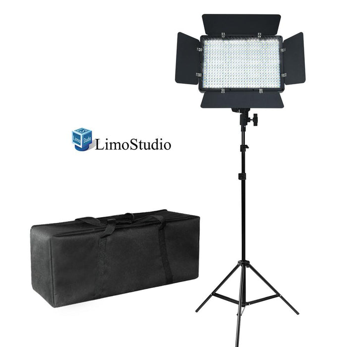 LED Barn Door Light Panel with Light Stand Tripod & Heavy Duty Carry Case Bag, Dimmable Brightness Control, Color Filter Gel White / Orange, Continuous Lighting Kit, Photo Studio, AGG2221
