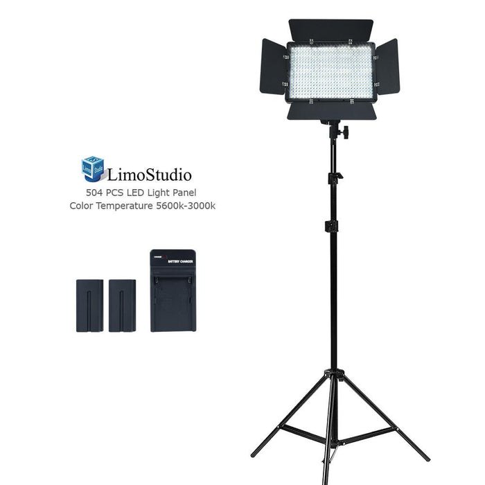 LED Barn Door Light Panel, Dimmable Brightness Control Color Temperature Control Continuous Lighting Kit, AC Power Cord, Light Stand Tripod, Photo Studio, AGG2224