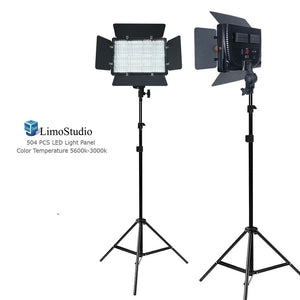 [2 Pack] LED Barn Door Light Panel, Dimmable Brightness Control, Color Temperature Control, Continuous Lighting Kit, AC Power Cord, Light Stand Tripod, AGG2225V2