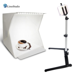 LED Light Portable Mini Photo Shooting Box Tent, Foldable Lighting Box Kit Table Top Mini Light Stand, Cellphone Smart Phone Clip Holder, Commercial Product Shooting, Photo Studio, AGG2230