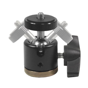 Aluminum Alloy 360° Swivel Rotating Mini Ball Head with Lock and 1/4 Inch and 3/8 Inch Female Thread Base Bottom, 1/4 Inch Screw Top, Camera Mounting Adapter, Photo Studio, AGG2231