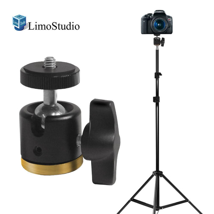 Aluminum Alloy 360° Swivel Rotating Mini Ball Head with Lock and 1/4 Inch and 3/8 Inch Female Thread Base Bottom, 1/4 Inch Screw Top and Light Stand Tripod, Photo Studio, AGG2233